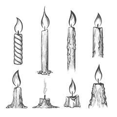 Candle hand drawn set. Vector burning candles sketch on white