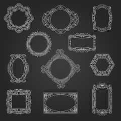 Decorative picture frames and borders in chalkboard sketch style vector illustration