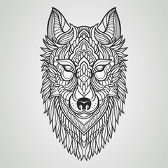 Abstract wolf hand draw