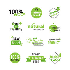 Lettering logo of vegetarian ecology fresh food. Organic and natural farm meal