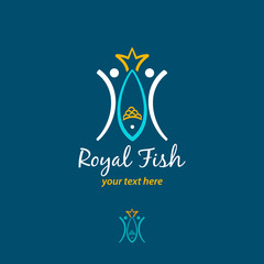 Two fishmen catch a big fish with tail in form of crown. Vector logo concept. Vector logo design template. Vector fish icon.