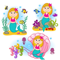 set of isolated mermaid under the water - vector illustration, eps