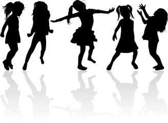 Silhouettes of girls.