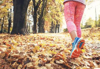Autumn runner legs close up image