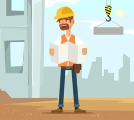 Builder man worker character on construction read plane. Vector flat cartoon illustration