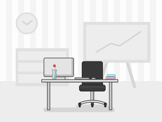 Website header flat illustration of office workplace, vector illustration