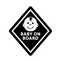 Baby on board sign on black rhombus, monochrome symbol, outline icon, flat vector illustration