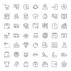 shopping and shipping thin line iconset