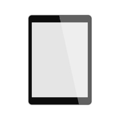 Isolated black tablet. Shiny tablet with template screen on white background.