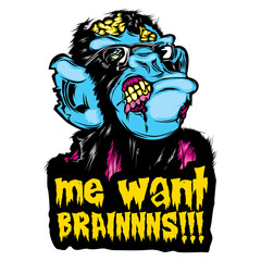 "Zombie Monkey Chimp Colorful Pop Culture Halloween Sticker ""me want BRAINNNS!!!"""