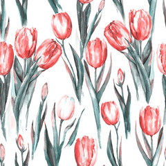 Hand-drawn watercolor seamless pattern with red and white tulip flowers. Repeated spring print for the textile, wallpaper. Tender and beautiful background