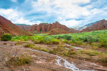 Beautiful mountain landscape in the Aeolian mountains, Kyrgyzsta