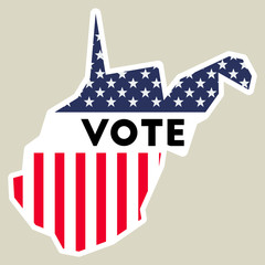 USA presidential election 2016 vote sticker. West Virginia state map outline with US flag. Vote sticker vector illustration.