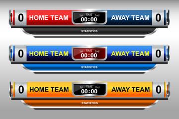 scoreboard design elements for football and soccer, vector illustration