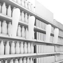 set of supermarket shelves with blank products