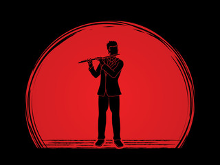 Flute player designed on sunset background graphic vector.