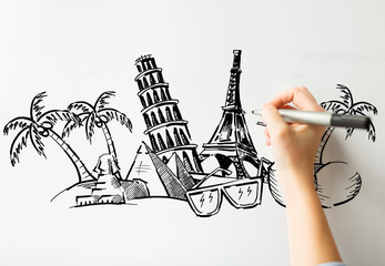 close up of hand drawing touristic landmarks