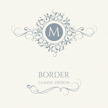 Floral monogram and border with calligraphic elements.
