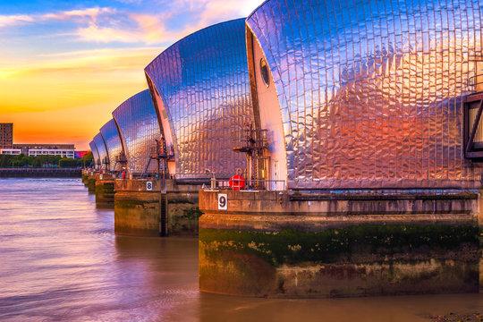 Thames Barrier in London at sunset