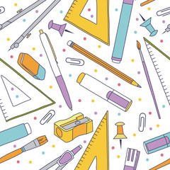 Vector seamless stationery pattern. Vector back to school illustration.