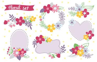 Romantic Floral hand drawn set. Vector illustration with frames. Wedding design