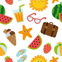 Summertime traveling seamless pattern with beach summer accessories, vector illustration
