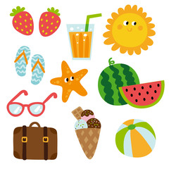 Summertime traveling template with beach summer accessories, vector illustration