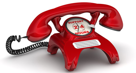 Support 24 hours. The inscription on the red phone