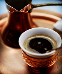 Close up of traditional Turkish coffee