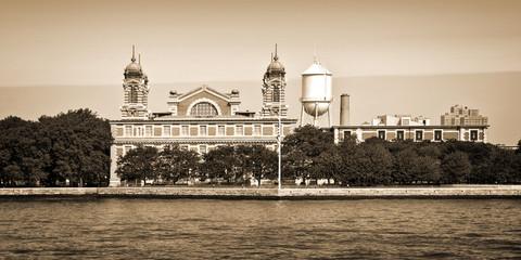 Panorama of Ellis island in New York City, vintage sepia process