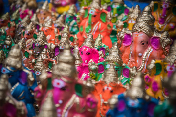 "Hindu god ""Ganapati"" sold in the market at south India. This is a very big festival and it's celebrate all over the India."
