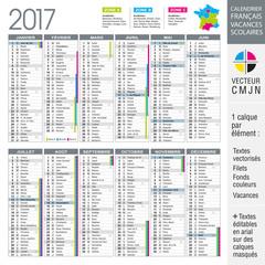 Calendrier français 2017 avec vacances scolaires et académies