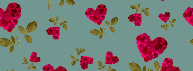 web cover pattern red heart rose petals