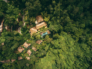 Aerial view of luxury resort in tropical forest
