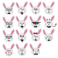 set of fun emoticon rabbit smileys isolated on white background.