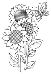 Sunflowers and a butterfly for coloring