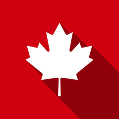 Canadian Maple Leaf flat icon with long shadow. Vector Illustration