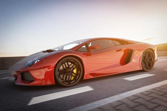 Modern red metallic sports car driving fast on the road. Generic desing, brandless