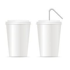 Paper Cup Template for Soda Set. Vector