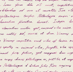 Hand written letter - seamless text Lorem ipsum. Repeating pattern
