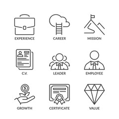 basic professional success line icons with text