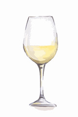 Watercolor white wine glass. Beautiful and elegant glass with alcoholic beverage. Art for menu decoration.