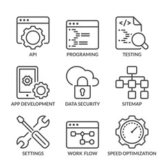 basic web development line icons with text