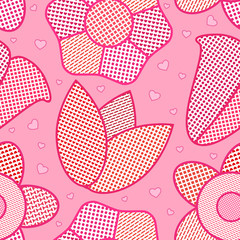 Seamless floral pattern for kitchen in rose color