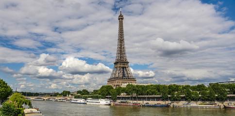 Eiffel Tower in Paris with Seine, France