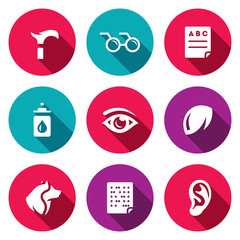 Vector Set of Disability Icons. Lameness, Blindness, Diagnostic, Prevention, Vision, Eye, Contact Lens, Guide, Braille, Deafness.