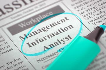 We are Hiring Management Information Analyst. 3D Illustration.