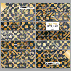 Set of modern banners. Islamic gold pattern with overlapping geometric square shapes forming abstract ornament. Vector stylish golden texture on black background.