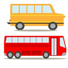 два пассажирских автобуса красного и желтого цвета на белом фоне,изолированный