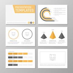 Set of gray and orange template for multipurpose presentation slides. Leaflet, annual report, book cover design.